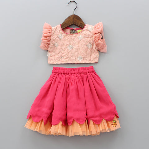 Pre Order: Peach Embroidered Top And Pink Skirt