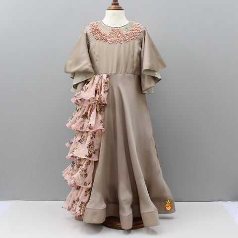 Pre Order: Light Brown Flared Floral Gown