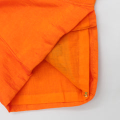 Pre Order: Orange Turtle Embroidered Angarkha And Dhoti
