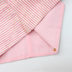 Pre Order: Pink Kurta And Off-White Churidar With Striped Jacket