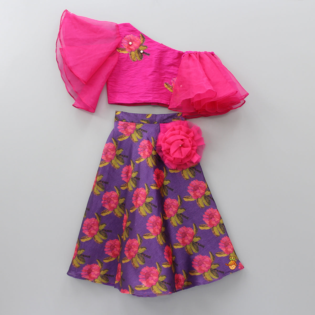 Pre Order: One Shoulder Floral Patch Top And Purple Lehenga