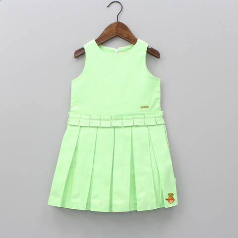 Green Dobby Pleated Dress