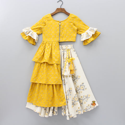 Pre Order: Mustard Yellow Frilled Top With Ikkat Palazzo