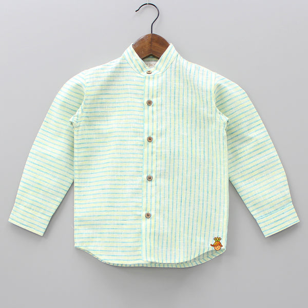 Green And Yellow Stripped Chinese Collar Shirt