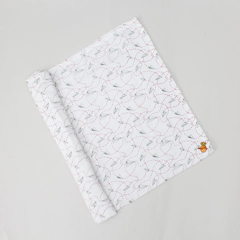 Organic Paper Rocket Print Swaddle