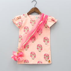 Pre Order: Peach Printed Kurti With Attached Dupatta  And Pink Sharara