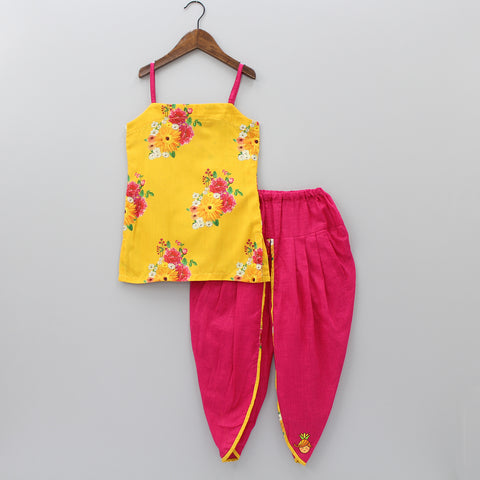 Pre Order: Yellow Floral Print Kurti And Pink Dhoti