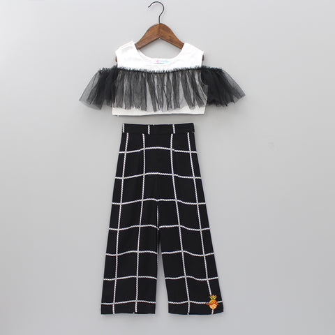 White Crop Top With Black Checks Pant
