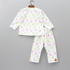 White Fruit Printed Sleepwear