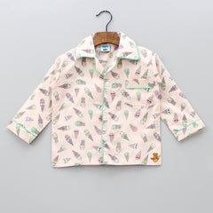 Peach Ice Cream Cone Print Sleepwear