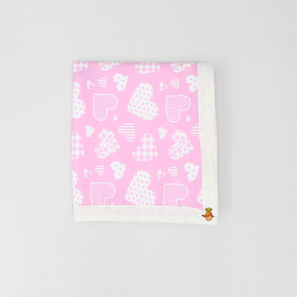 Pink Swaddle With White Hearts