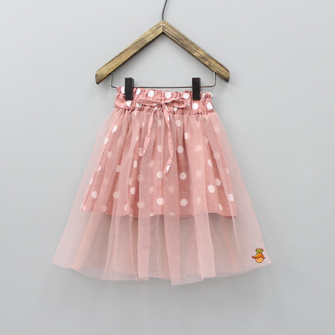 Light Champagne Pink Polka Skirt