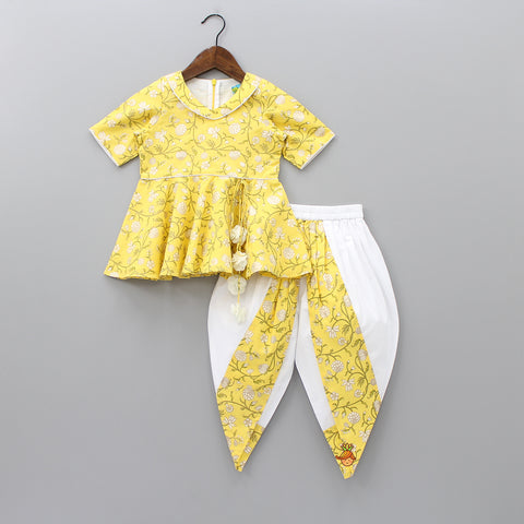 Pre Order: Yellow Printed Top With Dhoti