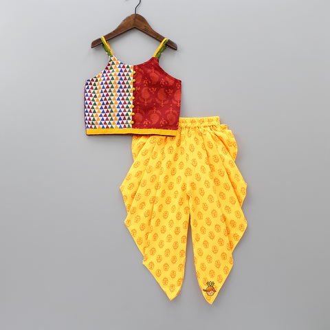 Printed Top And Yellow Dhoti