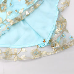 Pre Order: Pink One Sided Floral Embroidered Top And Blue Sequin Ghagra