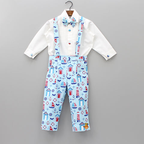 Pre Order: White Onesie And Nautical Print Pant Set With Suspenders