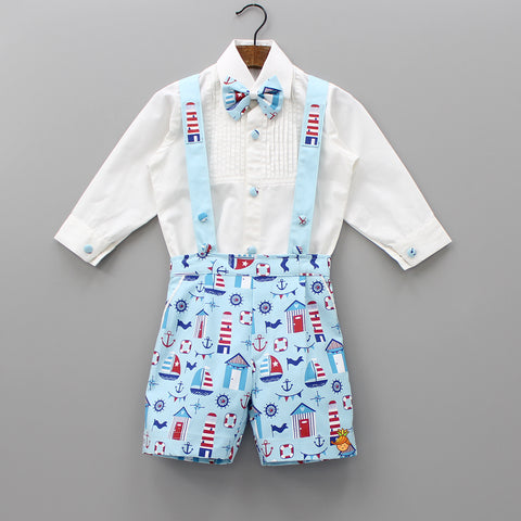 Pre Order: White Onsie And Nautical Print Shorts Set With Suspenders
