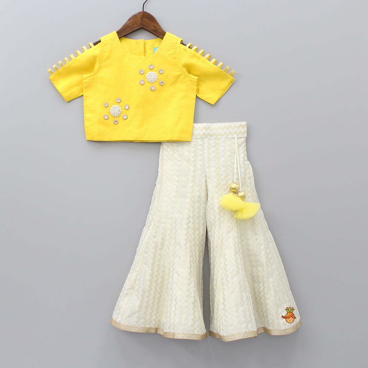 Pre Order: Yellow Top With Off- White Palazzo Set
