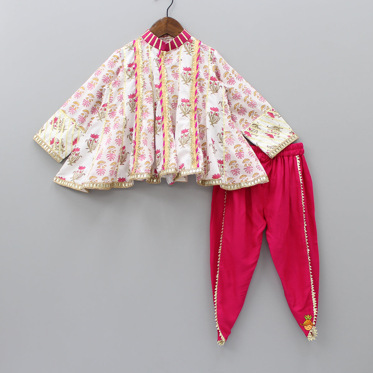 Pre Order: Block Print Top With Pink Dhoti