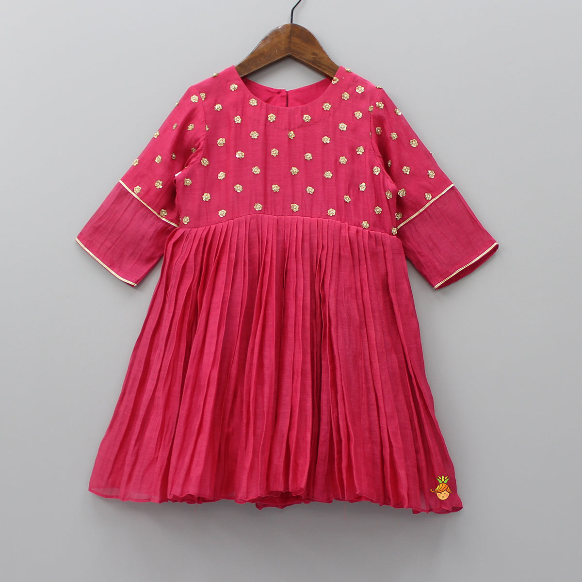 Pre Order: Hot Pink Sequins Pleated Dress