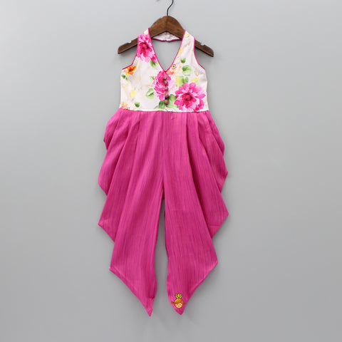 Pink Floral Print Dhoti Style Jumpsuit