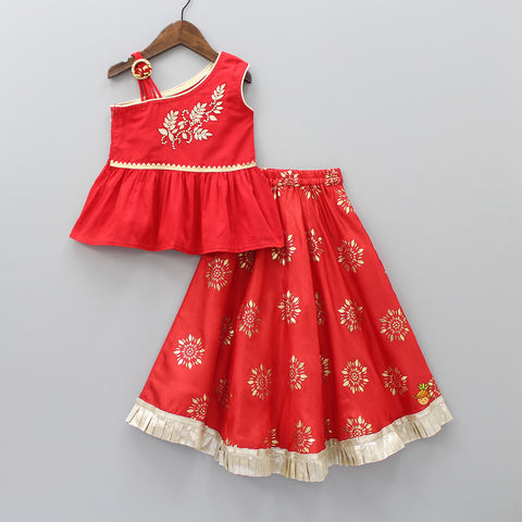 Red One-Shoulder Peplum Top With Lehenga