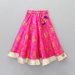 Embroidered Top With Pink Lehenga