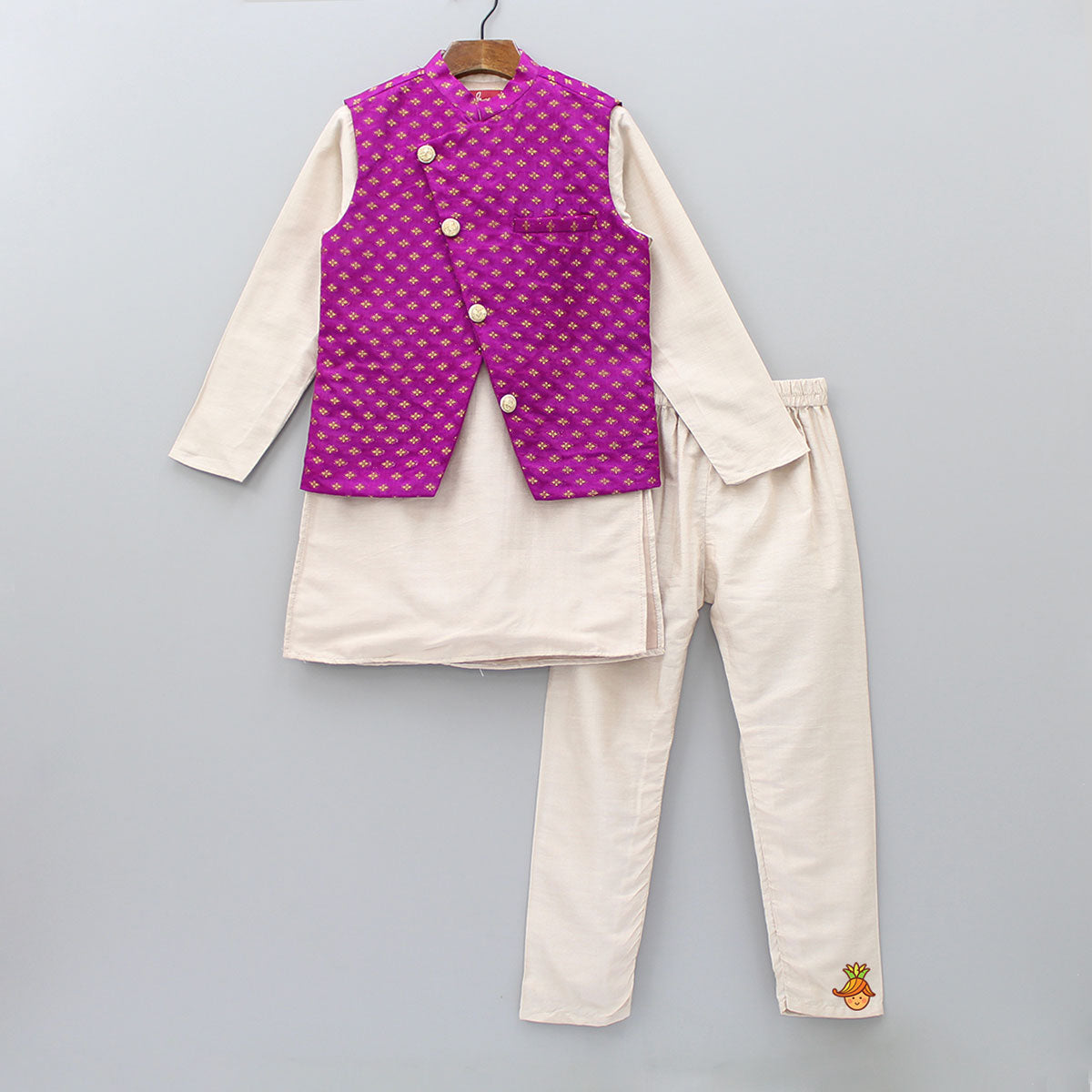 Pre Order: Beige Kurta And Pyjama With Magenta Jacket