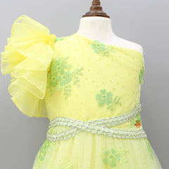 Pre Order: Yellow One-Shoulder Sequin Embroidered Gown