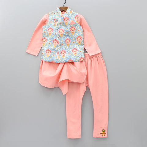 Pre Order: Peach Kurta And Churidar With Floral Jacket