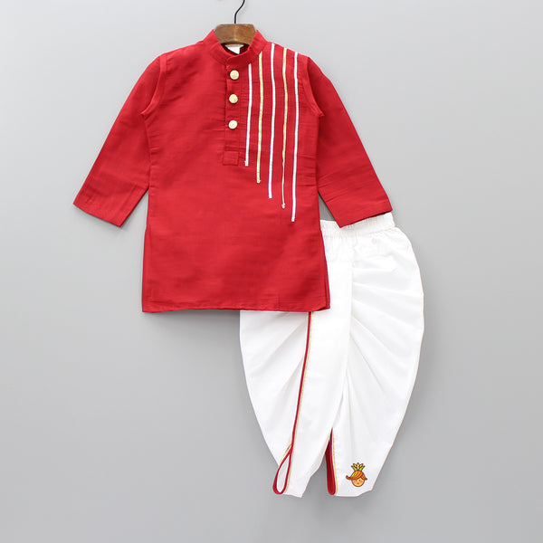 Red Kurta And Dhoti Set