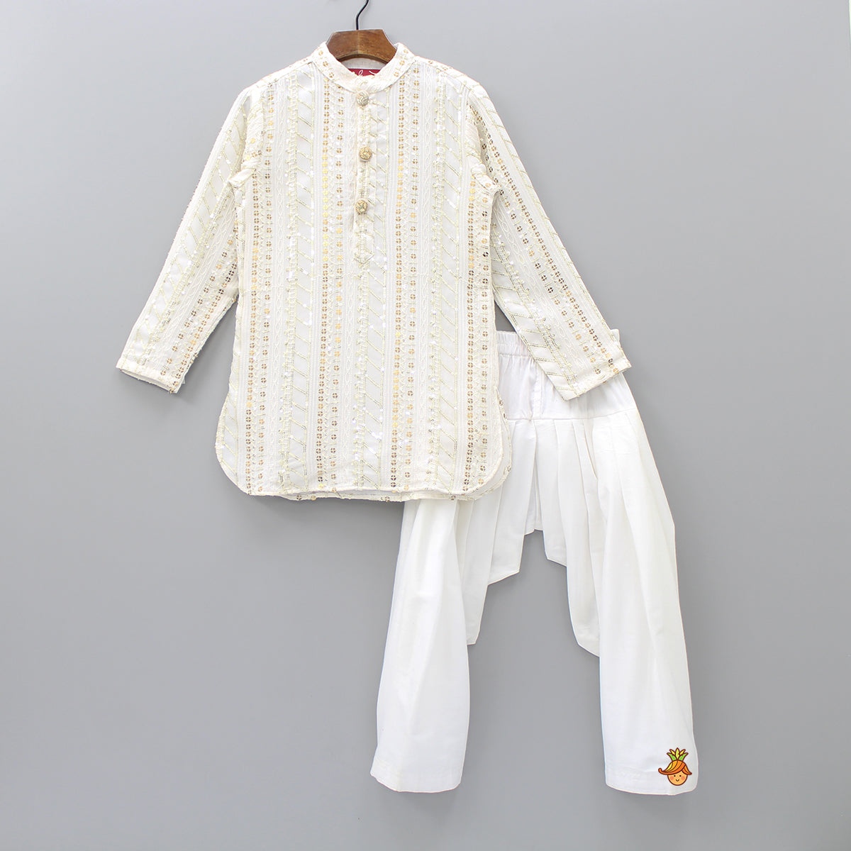 Pre Order: White Sequin Work Kurta And Patiala Set