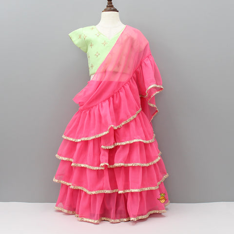 Pre Order: Mint Green Choli And Pink Lehenga With Attached Dupatta
