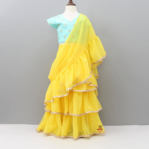 Pre Order: Blue Choli And Yellow Lehenga With Attached Dupatta