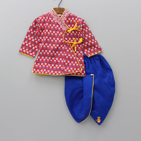Red Angarkha With Blue Dhoti