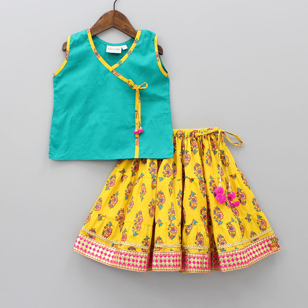 Turquoise And Yellow Sanganeri Print Top And Skirt