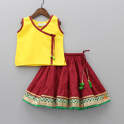 Yellow And Maroon Sanganeri Print Top And Skirt