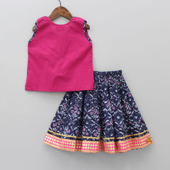 Magenta And Indigo Sanganeri Print Top And Skirt