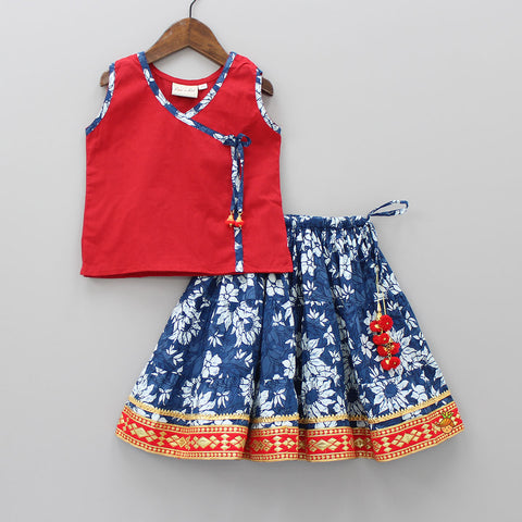 Red And Blue Sanganeri Print Top And Skirt