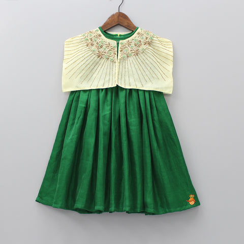Pre Order: Green Dress With Light Yellow Embroidered Shoulder Cape