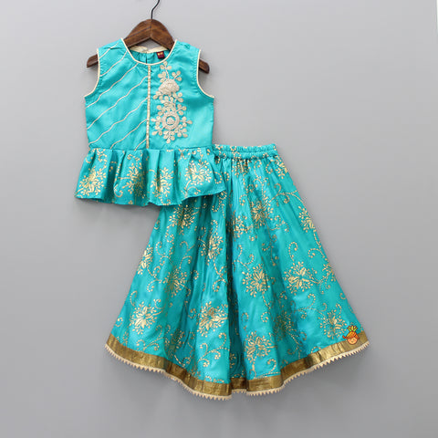 Turquoise  Floral Work Top And Lehenga
