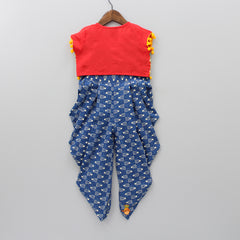 Blue Printed Jumpsuit With Red Jacket
