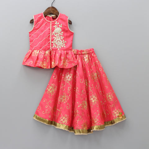 Coral Pink Floral Work Top And Lehenga