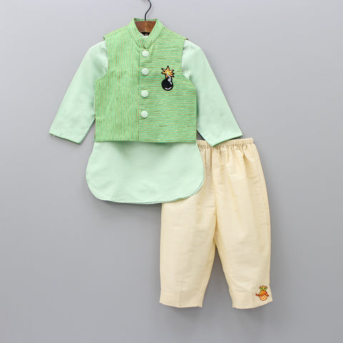 Pre Order: Light Green Kurta And  Cream Pyjama With Green Striped Jacket