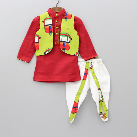 Pre Order: Red Kurta And Off-White Dhoti With Auto Print Jacket