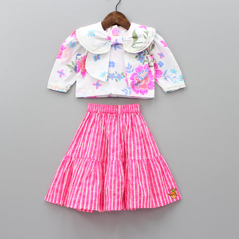 Pre Order: Floral Print Top And Pink Striped Knee Length Skirt