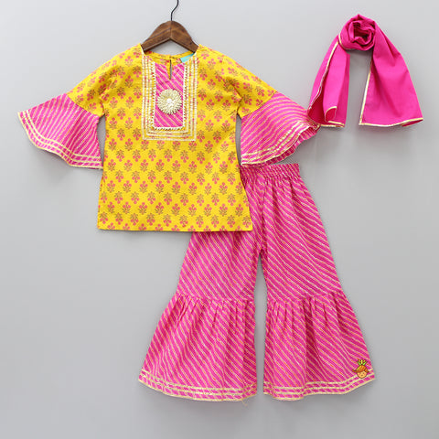Yellow Kurti And Pink Sharara With Dupatta