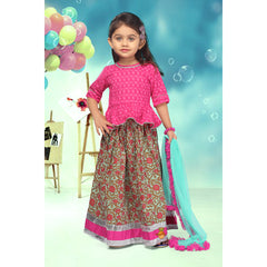 Pink Top And Floral Lehenga Set