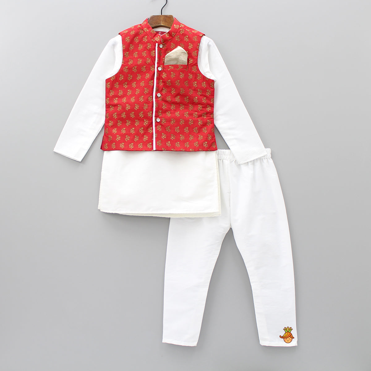 Pre Order: White Kurta And Churidar With Red Jacket