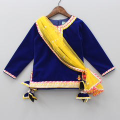 Pre Order: Navy Blue Velvet Kurti With Attached Dupatta And Patiala